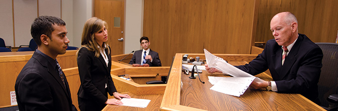 Mock Trial students in courtroom